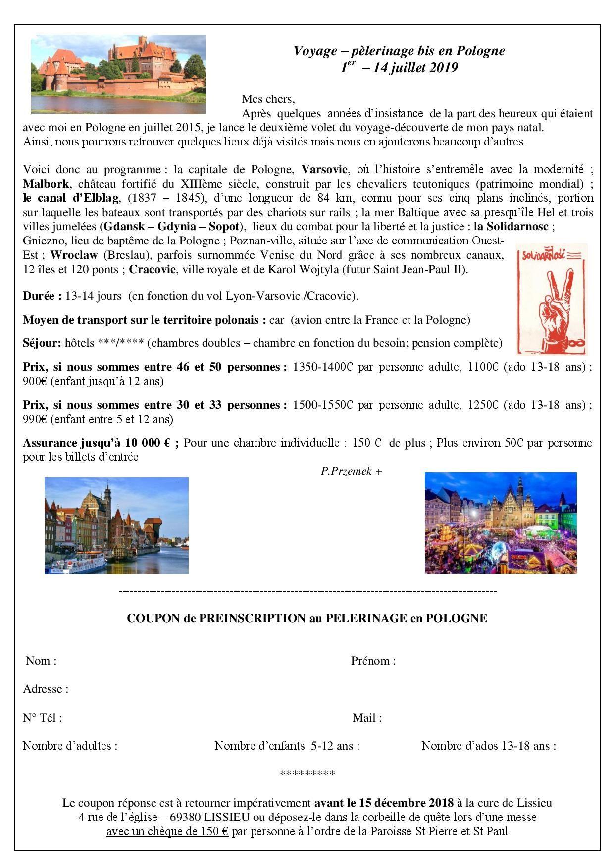 Programme du pèlerinage en Pologne 2019