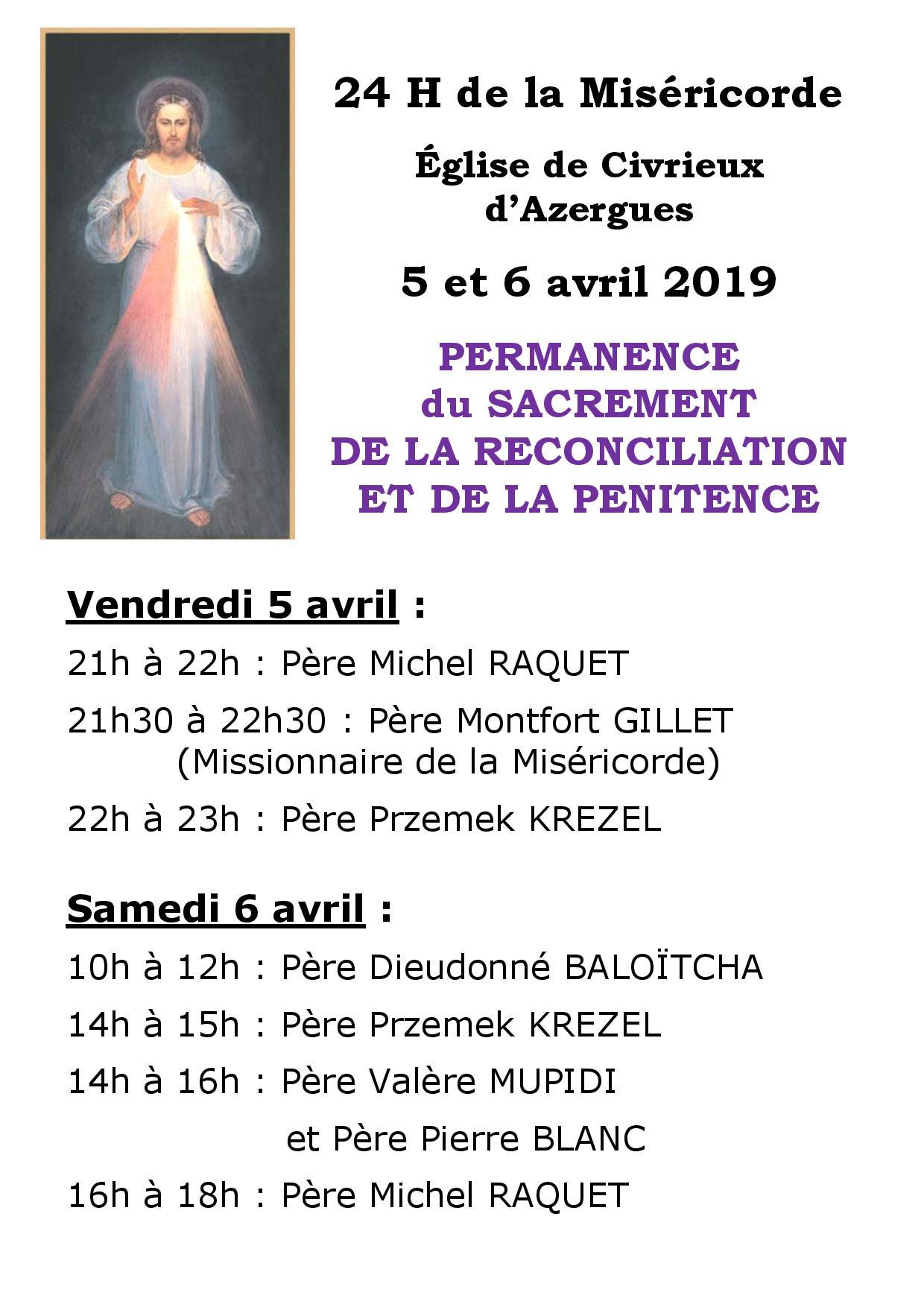 24 H de la Miséricorde Sacrement de la Réconciliation