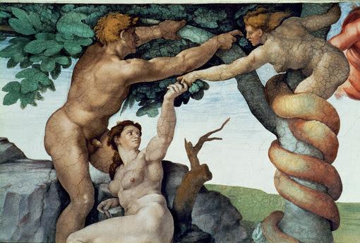 """Michelangelo Buonarroti 1475–1564.  """"Sündenfall und Vertreibung aus dem Paradies"""", um 1509/10.  Ausschnitt: Sündenfall. Fresko, Bildfeld 280 × 570 cm. Rom, Vatikan, Cappella Sistina – Sixtinische Kapelle, 6. Mittelfeld. (Aufnahme nach der Restaurierung)."""